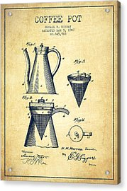1907 Coffee Pot Patent - Vintage Acrylic Print by Aged Pixel