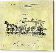 1907 Cotton Harvester Patent Acrylic Print