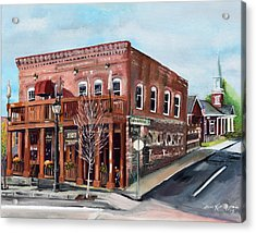 Acrylic Print featuring the painting 1907 Restaurant And Bar - Ellijay, Ga - Historical Building by Jan Dappen