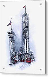 Acrylic Print featuring the painting 1908 Times Square,ny by Andrzej Szczerski