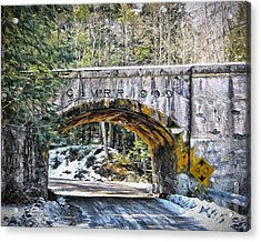 1909 Country Backroad Train Overpass Acrylic Print