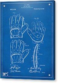 1910 Baseball Glove Patent Artwork Blueprint Acrylic Print by Nikki Marie Smith