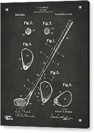 1910 Golf Club Patent Artwork - Gray Acrylic Print
