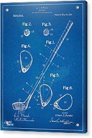 1910 Golf Club Patent Artwork Acrylic Print by Nikki Marie Smith