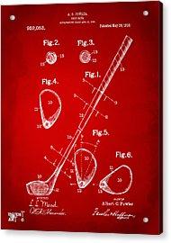 1910 Golf Club Patent Artwork Red Acrylic Print by Nikki Marie Smith