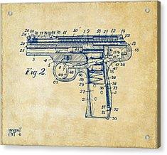 1911 Automatic Firearm Patent Minimal - Vintage Acrylic Print by Nikki Marie Smith