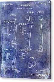 1911 Mechanical Skeleton Patent 1 Blue Acrylic Print