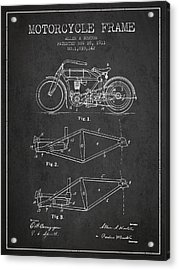 1911 Motorcycle Frame Patent - Charcoal Acrylic Print by Aged Pixel
