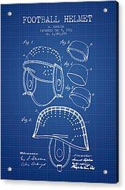1913 Football Helmet Patent - Blueprint Acrylic Print