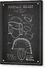 1913 Football Helmet Patent - Charcoal Acrylic Print by Aged Pixel
