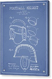 1913 Football Helmet Patent - Light Blue Acrylic Print