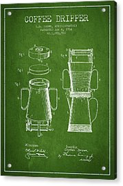 1914 Coffee Dripper Patent - Green Acrylic Print