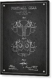 1914 Football Gear Patent - Charcoal Acrylic Print