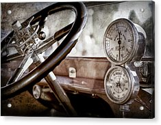Acrylic Print featuring the photograph 1914 Rolls-royce 40 50 Silver Ghost Landaulette Steering Wheel -0795ac by Jill Reger