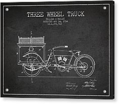 1914 Three Wheel Truck Patent - Charcoal Acrylic Print by Aged Pixel