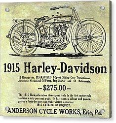 1915 Harley Davidson Advertisement Acrylic Print by Jon Neidert