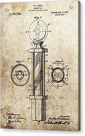 1916 Barber Pole Patent Acrylic Print by Dan Sproul