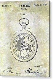1916 Pocket Watch Patent Acrylic Print