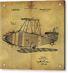1917 Airplane Patent Acrylic Print by Dan Sproul