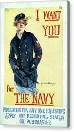 1917 Navy Recruiting Poster Acrylic Print