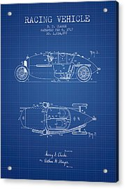 1917 Racing Vehicle Patent - Blueprint Acrylic Print by Aged Pixel