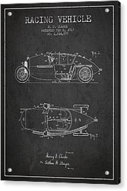 1917 Racing Vehicle Patent - Charcoal Acrylic Print by Aged Pixel
