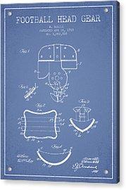 1918 Football Head Gear Patent - Light Blue Acrylic Print