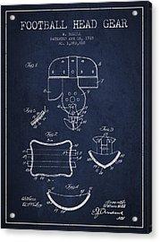 1918 Football Head Gear Patent - Navy Blue Acrylic Print