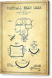 1918 Football Head Gear Patent - Vintage Acrylic Print by Aged Pixel