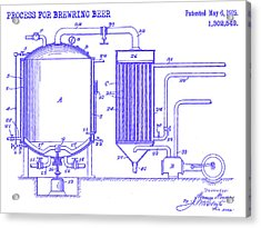 1919 Beer Brewing Patent Blueprint Acrylic Print