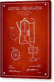 1919 Coffee Percolator Patent - Red Acrylic Print