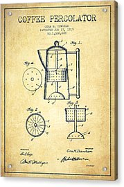 1919 Coffee Percolator Patent - Vintage Acrylic Print by Aged Pixel