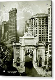 1919 Flatiron Building With The Victory Arch Acrylic Print