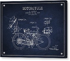 1919 Motorcycle Patent - Navy Blue Acrylic Print by Aged Pixel