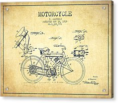 1919 Motorcycle Patent - Vintage Acrylic Print by Aged Pixel