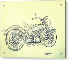 1920 Indian Motorcycle Graphite Pencil - Aged  Acrylic Print