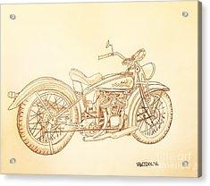 1920 Indian Motorcycle Graphite Pencil - Sepia Acrylic Print by Scott D Van Osdol