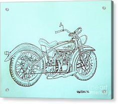 1920 Indian Motorcycle Graphite Pencil Sketch - Blue Background Acrylic Print