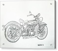 1920 Indian Motorcycle Graphite Pencil Sketch Acrylic Print