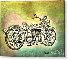 1920 Indian Motorcycle Graphite Pencil - Watercolor Acrylic Print by Scott D Van Osdol