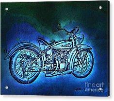 1920 Indian Motorcycle - Midnight Ride Acrylic Print by Scott D Van Osdol