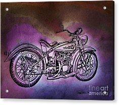 1920 Indian Motorcycle - Purple Rain Acrylic Print by Scott D Van Osdol