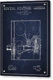 1920 Moving Picture Camera Patent - Navy Blue Acrylic Print
