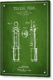 1920 Tuning Fork Patent - Green Acrylic Print