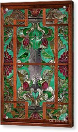 1922 Art Nouveau Stained Glass Panel Acrylic Print by Mindy Sommers