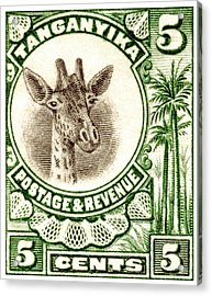 Acrylic Print featuring the painting 1922 East African Giraffe Stamp by Historic Image