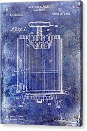 1922 Wine Press Patent Blue Acrylic Print