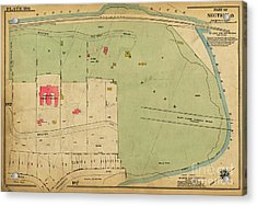 Acrylic Print featuring the photograph 1923 Inwood Hill Map  by Cole Thompson