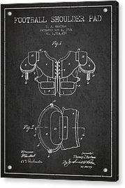 1924 Football Shoulder Pad Patent - Charcoal Acrylic Print