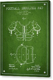 1924 Football Shoulder Pad Patent - Green Acrylic Print by Aged Pixel